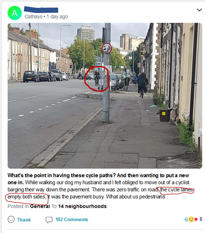 Post from nextdoor.co.uk accusing cyclists of not using cycle lanes
