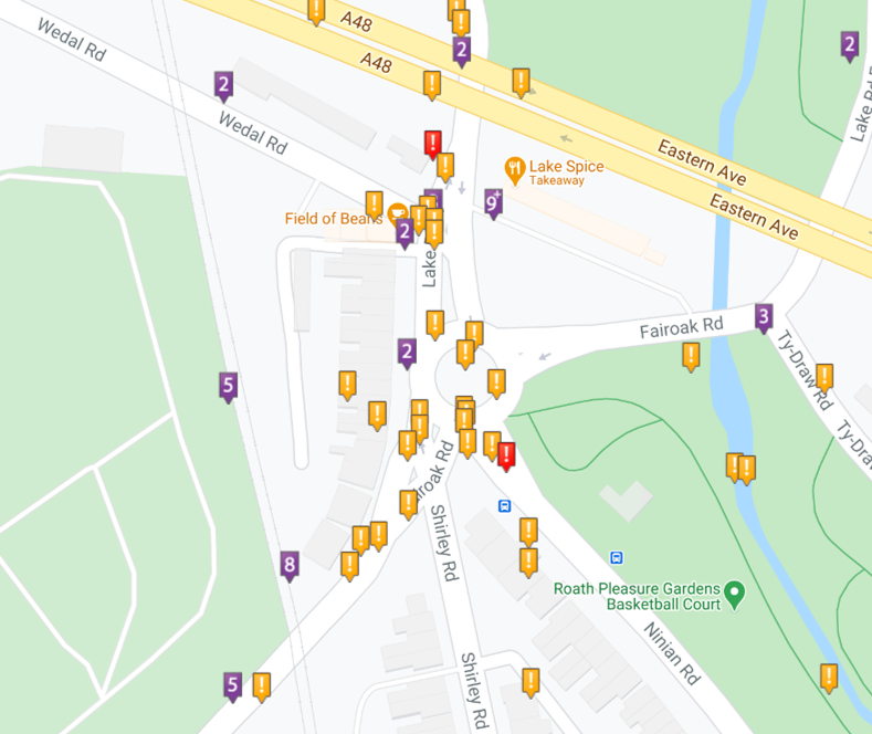 Fairoak Roundabout, Cardiff, showing road traffic collisions 1999-2020